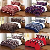 Cotton Quilted Bedspread, Reversible Bedspread + 2 Matching Pillow Shams Cotton