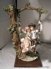 Vintage Guiseppi Armani Capodimonte Lovers On A Swing Figurine 15 Inch Signed