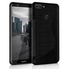 Hülle für Huawei P Smart Silikon Handy Schutzhülle TPU Case S-Line Cover Schwarz