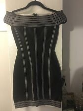 HERVE LEGER/LEROUX-BLACK WITH BLACK & WHITE STRIPES BANDAGE DRESS