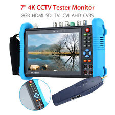 "7"" 4K CCTV IP Tester Monitor 8GB HDMI TVI AHD CVBS Camera PTZ POE Test H.265 12V"