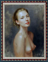 Hand-painted Original Oil painting art Impressionism nude girl on Canva 24X36""