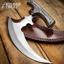 Timber Wolf Reaper Ulu Dagger Hunter Knife Full Tang Tw1049 Leather Sheath New