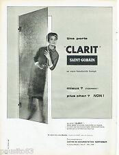 PUBLICITE ADVERTISING 115  1959  Saint-Gobain   miroitier porte Clarit