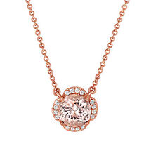 Pink Morganite & Diamonds Solitaire Pendant Necklace Clover Flower 14k Rose Gold