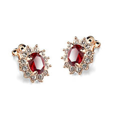 ITALINA 18K GOLD PLATED GENUINE RUBY RED CZ & AUSTRIAN CRYSTAL CLIP-ON EARRINGS