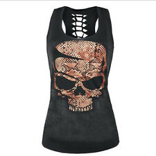 UK Womens Skull Print Sleeveless Vest Tank Top Ladies Hollow Summer Slim T Shirt White#1 XXXS