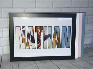 Personalised Name WordArt Gift Keepsake Birthday xmas Present Framed -Spiderman