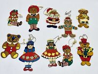 Marvelous Lot Of 10 Vintage Flat Wooden Hand Painted Christmas Ornaments