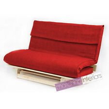 Red Double 2 Seater Fabric Complete Futon Wood Base & Fold Up Mattress Sofa Bed