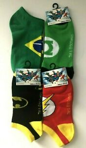 Super Hero No Show Youth Ankle Socks Assorted 4 pairs,size 9-11