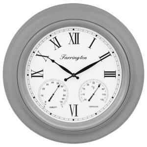 48cm Large Grey Farington Weather Station Wall Clock Classic Kitchen Vintage NEW