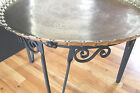 Antique/vintage Iron& Brass hand chased Tray/coffee table Old Hollywood Vibe!