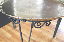 Antique/vintage Iron& Solid Brass hand chased Tray table Old Hollywood Vibe!