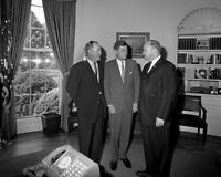 President John F. Kennedy with Hubert Humphrey and VFW Commander Photo Print
