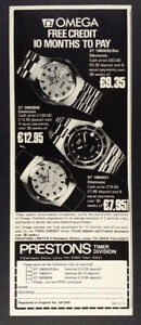 1974 Omega f300 & Seamaster Chronometer watches vintage print Ad