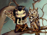 Jasmine Becket-Griffith art BIG print Owlyn great horned owl bird big eyed fairy