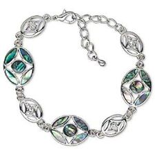 "Abalone Paua Shell Inlay Fancy Ovals 7-9"" Chain Link Bracelet"