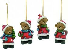 Set of 4 Christmas Teddy Bear Hanging Tree Ornaments