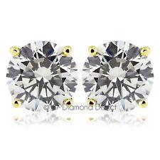 1.00ct H-VS1 VG Round Natural Diamonds 14K Gold 4-Prong Set Basket Earrings 1.1g