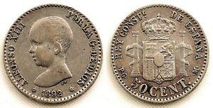 VARIANTE. Alfonso XIII 50 centimos 1892*8-2 MBC+/VF+. Plata 2,5 g. MUY ESCASA