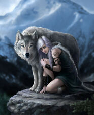 The Protector Wolf & Girl Warrior JQ Signature Queen Blanket Faux Mink Quality