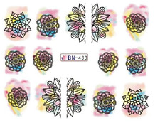 Nail Art Decals Transfers Stickers Coloured Designs (BN433)