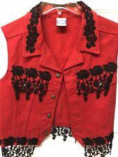 Vintage Denim WATCH L. A. Women's Red w Black Lace Western Vest Sz Lg. Exc Cond.