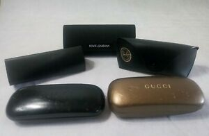 Lot of 5 Designer Eye Glass Cases Fendi Dolce & Gabbana Gucci Ray-Ban Sunglasses