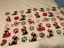 "Christmas Plush Throw Blanket Puppies & Presents 50x60"" Dogs Paw Print Santa Hat"