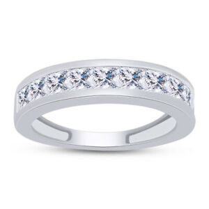 3mm Princess Simulated Diamond Channel Band Ring in 14k White Gold Over Silver