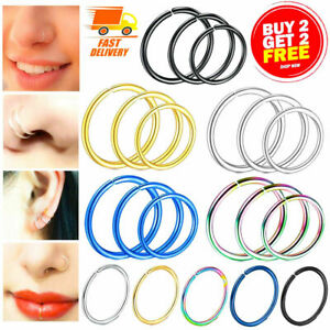 NOSE RING SURGICAL STEEL SMALL HOOP LIP EAR FACE FAKE SEPTUM HELIX BODY PIERCING