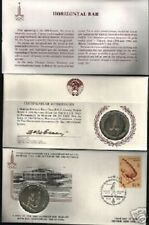 RUSSIA 1980 MOSCOW OLYMPIC HORIZONTAL BAR SILVER COIN + FDC UNC STAMP CCCP USSR