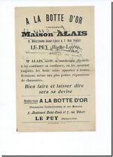 Lettre Facture  - Mr ALAIS - A la Botte D' Or - Le Puy 1923 (Haute loire )