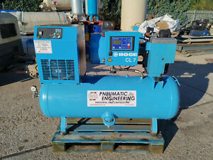 BOGE ROTARY SCREW AIR COMPRESSOR WITH DRYER 270L 5.5KW 7.5HP 10 BAR 26 CFM