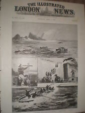 Wrecking of the steam ship SS Stella off the Casquets 1899 old prints