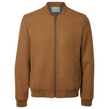 SELECTED HOMME - NEW - Henley Wool Blend Bomber Jacket - Camel - Small