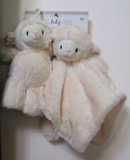 Boys Girls Kelly Baby 2 Pack Plush Luxury Lamb Security Blanket and Pram Toy Set