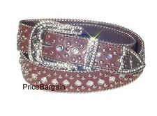 New Western Rhinestone Bling Crystal Studded Brown Snap On Buckle Leather Belt M