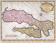 AMBON (MOLUKKEN) Insel Amboine, Landkarte 1758 koloriert ORIGINAL