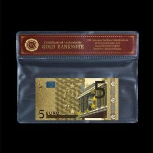 WR 24K Gold €5 EURO Bill Note EU Banknote Special Colour Edition +COA