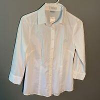 Van Heusen Women's Sz Small ¾ Sleeve Button Down Shirt White Textured Semi-Sheer