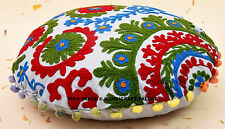 "16"" Indian White Handmade Embroidered Work Cushion Throw Bohemian Pillow Cover"