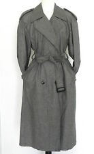 London Fog Trench Coat Gray Belted Pockets 100% Combed Cotton Size 8