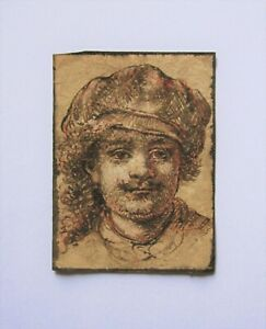 Old Master drawing after REMBRANDT. A self-portrait in sepia ink on laid paper.