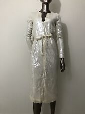 NWT Halston Heritage sequin long sleeves ivory off white dress size S - $475