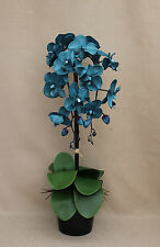 ARTIFICIAL SILK 2 STEMS TEAL MOTH ORCHID & LEAFS IN BLACK CERAMIC PLANT POT