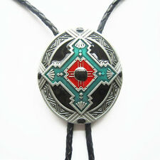 Western/Southwestern Enameled Bolo Braided 4MM Leather Cord W/Engraved Tips