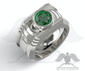 MichaelMJewelry - Handmade Green Lantern Solid .925 Sterling Silver ring