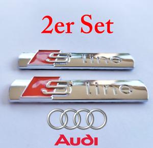 2x S-Line Emblem Schriftzug Logo Badge Kotflügel silber chrome glanz Audi